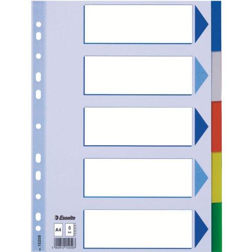 Esselte Kunststoff-Register, blanko, A4, PP, 5-teilig