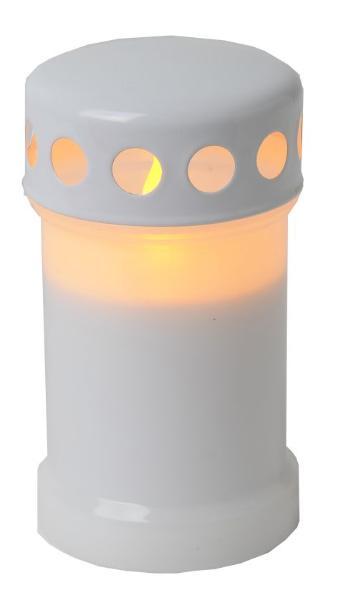 Grablicht Kunststoff mit LED flackernd weiss und Deckel ...