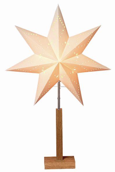 Standleuchte Papier Stern beige auf Holzbasis eiche 70x4...