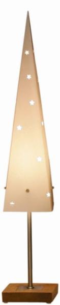 Standleuchte Papier Pyramide creme auf Holz- basis eiche...