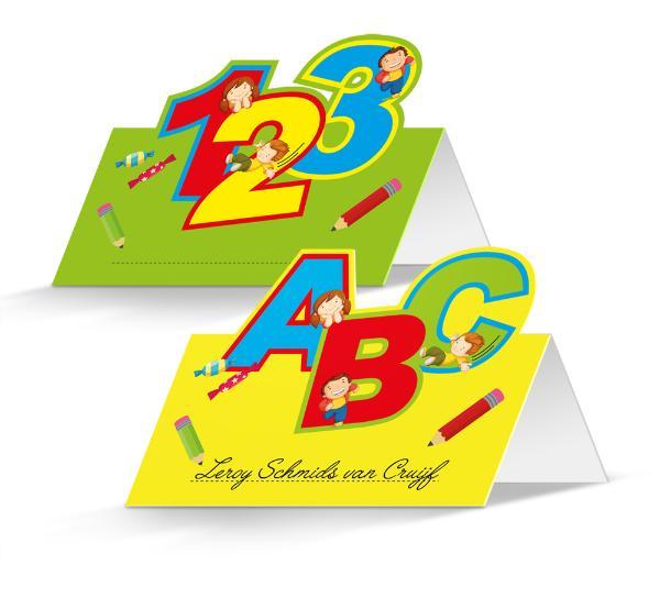 FOLAT Tischkarte 24 Stück Schulanfang 123 Abc bunt
