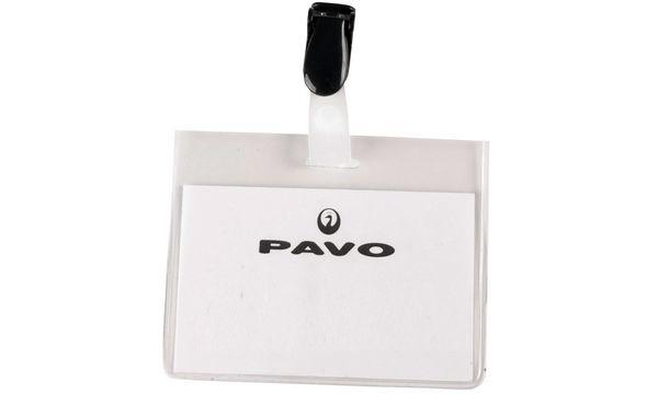 pavo Namensschild, mit Clip, 60 x 90 mm, transparent