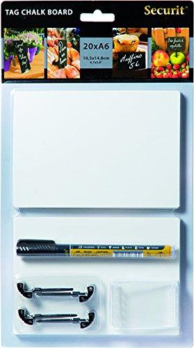 Securit Kreidetafelschild DIN A6, weiß, 20er Set