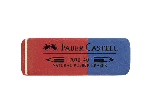 FABER-CASTELL Kautschuk-Kombi-Radierer 7070-40, rot / blau
