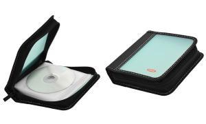 ednet CD/DVD-Tasche, für 32 CDs/DVDs, Nylon, blau
