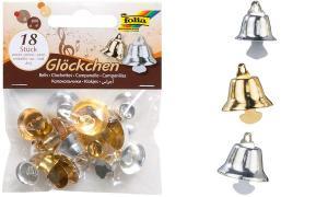 folia Metallglöckchen, 3 Größen sortiert, gold und silber
