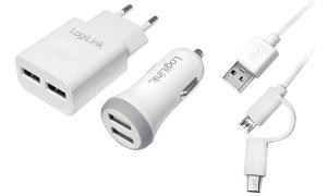 LogiLink USB-Ladegeräte-Set, 2-teilig, je 2x USB-Kupplung