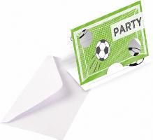 8 Einladungskarten mit Umschlägen Kicker Party