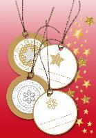 HERMA Weihnachts-Geschenkanhänger 3D, rund, gold
