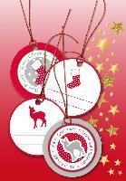 HERMA Weihnachts-Geschenkanhänger 3D, rund, rot/silber