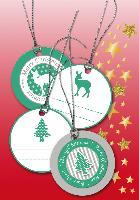 HERMA Weihnachts-Geschenkanhänger 3D, rund, grün/silber
