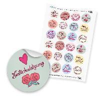 """24 x itenga Sticker """"Vintage Blumen Sprüche"""" (Motiv 66)"""